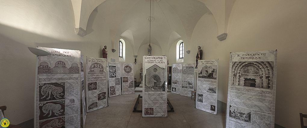 Thorame Basse  : Exposition de la chapelle St Thomas des Archives départementale sur les mosaïques de ganagobie