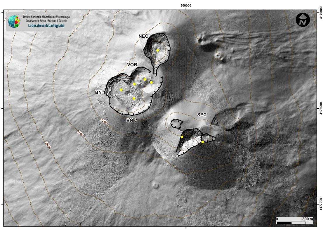 Map of the summit craters of Etna, morphological update from the SEC carried out following the drone and GPS campaign of October 4, 2021. - Doc. INGV OE