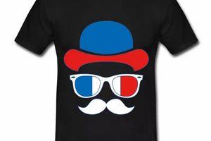 T shirt noir pour hommes de supporteur en bleu blanc rouge