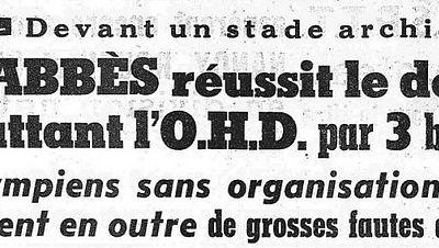 COUPE D'ALGERIE 1959 - 1960. A ALGER : SCBA 3 - OHD 0.