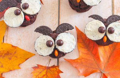Cupcakes Chouettes d'Halloween {Chocolat & Oréo}