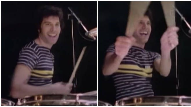 Freddie Mercury playing the drums during a rehearsal for Queen's News Of The World tour at Shepperton Studios in October 1977. Picture: BBC Archive/Youtube