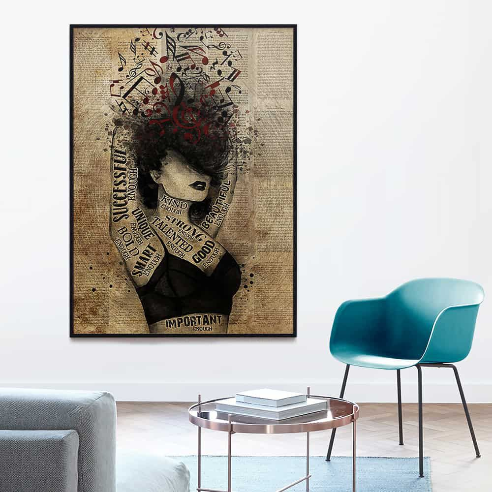 Girl And Music I Am Enough Successful Unique Talented Beautiful Enough poster, canvas
