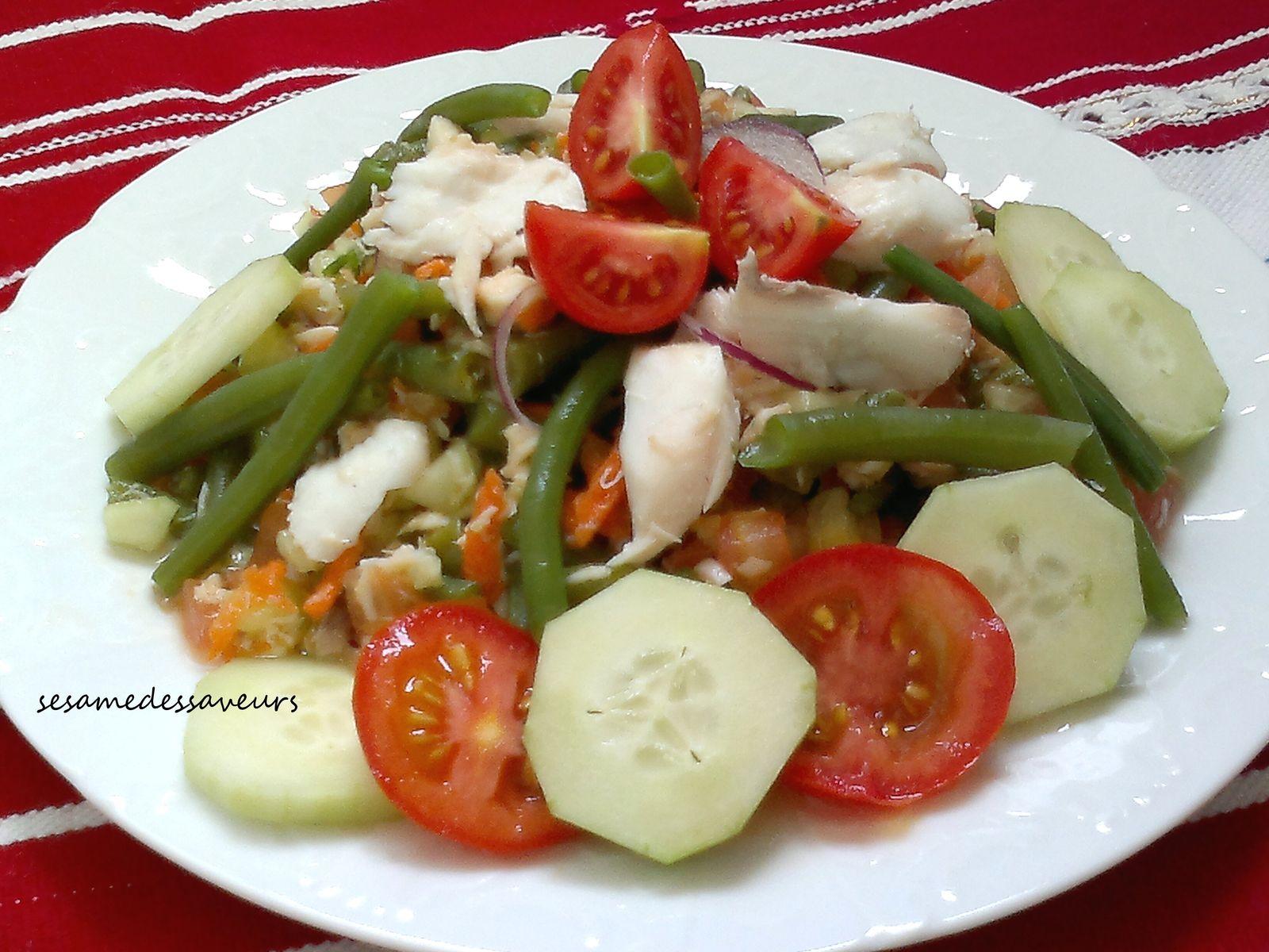 Salade de haricots verts au poisson