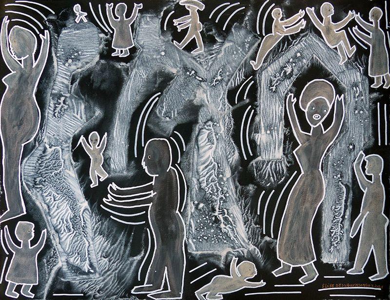 Pochoir, lavis, trait - 2 peintures d'Elise Desvaux Nsongo