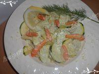 Pâtes sauce courgette et crevettes  au citron