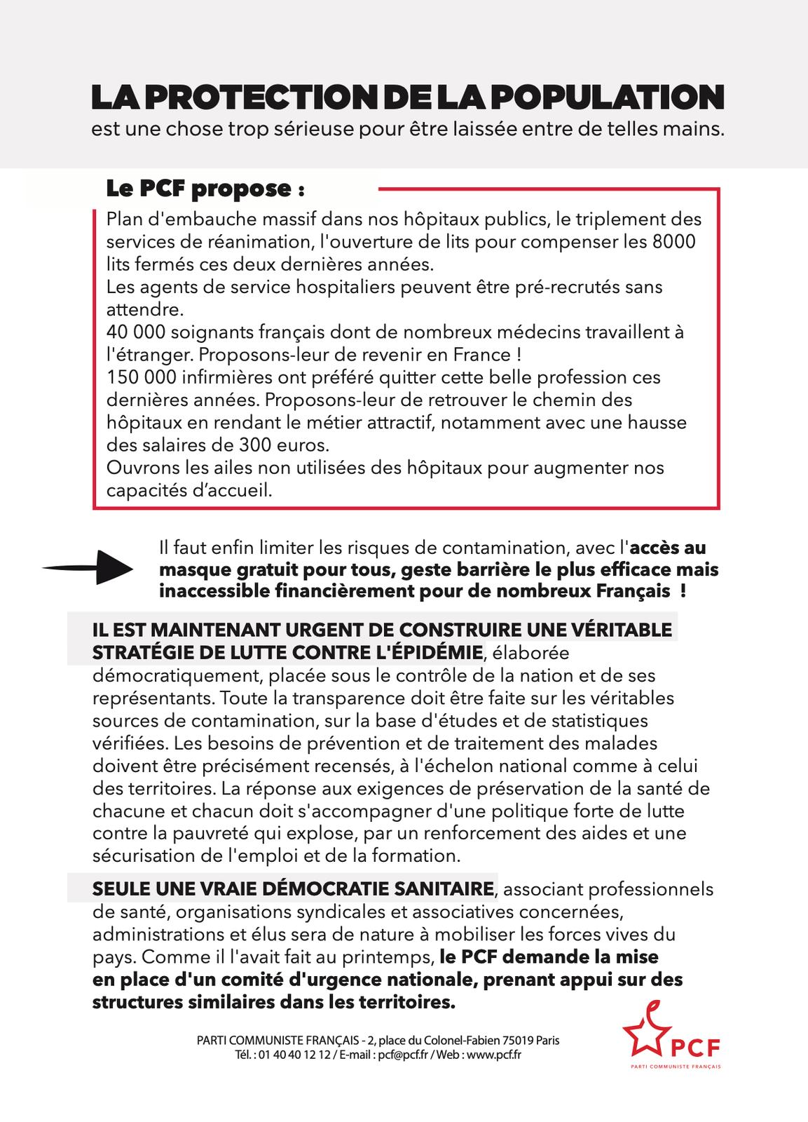 Couvre-feu. L'échec de la politique du gouvernement: le PCF réagit aux annonces du président Macron