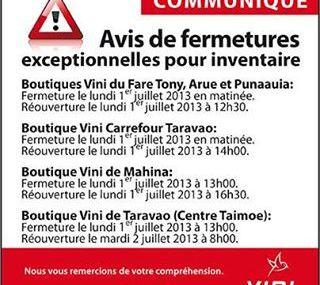 Vini : Fermetures exceptionnelles pour inventaires