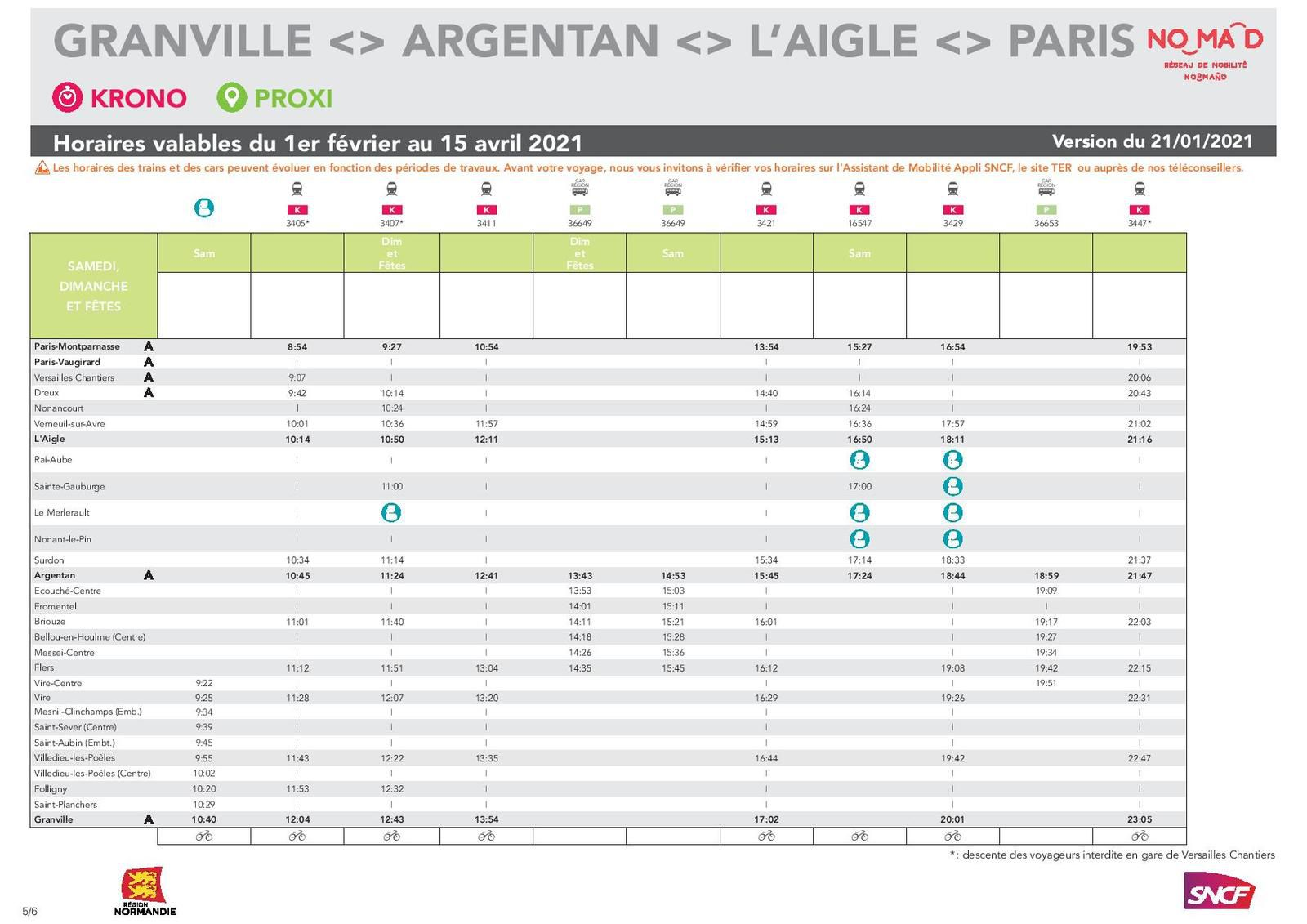 Paris > Granville du 1er février au 15 avril - version 21.01.2021