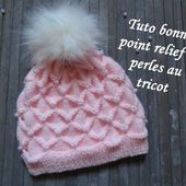 TUTO BONNET RELIEF ET PERLE AU TRICOT 3D with beads hat knitting GORRO CON PERLA DOS AGUJAS