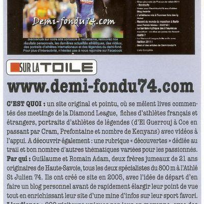 Demi-fondu74.com à l'honneur dans Athlétisme Magazine