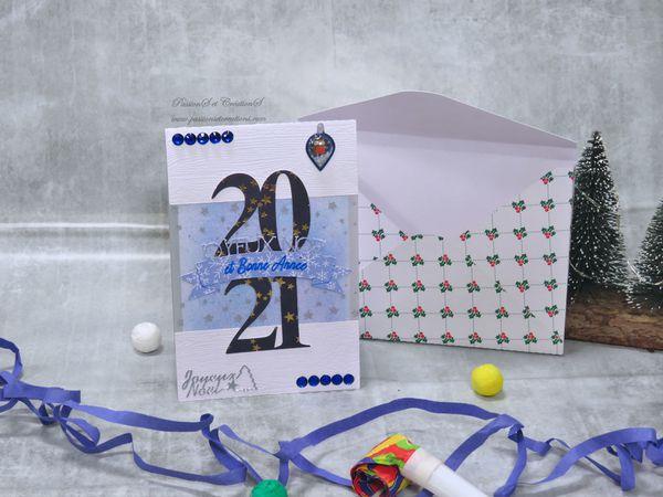 Carte - Voeux - 2021 - 2020 - Nouvel An - Saint Sylvestre - Scan N Cut - SDX1200 - CM - Foil Quill - Strass - Stickers