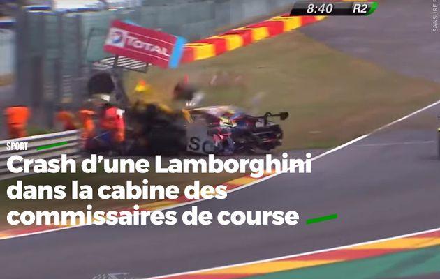 Crash d'une Lamborghini dans la cabine des commissaires de course #choc