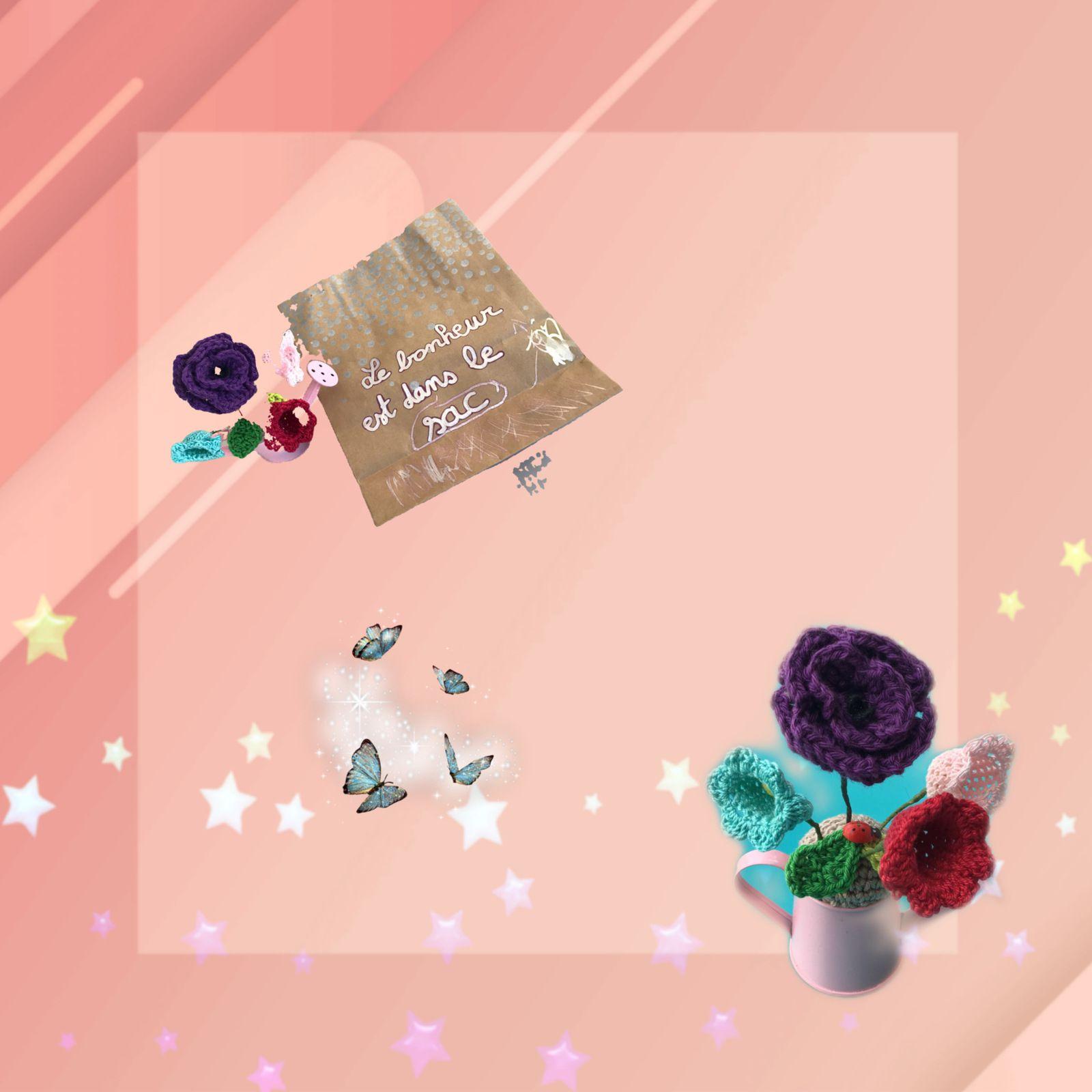 Un joli pot de fleurs au crochet..