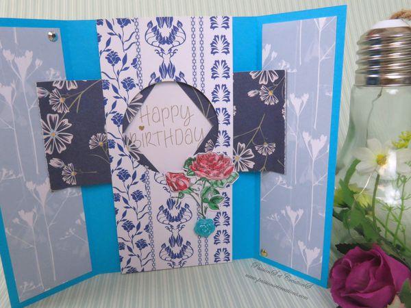 Carte - Anniversaire - Fleurs - Printemps - Mécanisme - Iris - Ouverture - Happy Birthday - Coloriage - Scan N Cut - CM600