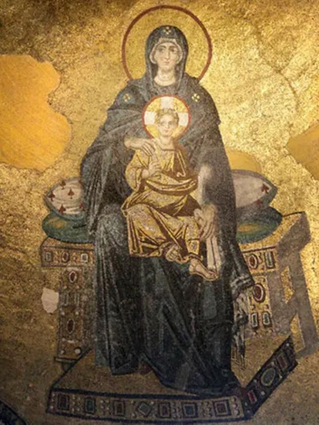 Mosaic of Mary and Jesus in the apse of the Hagia Sophia, Istanbul. Photograph: Alamy