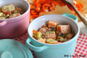 Blanquette de Saumon au Roquefort et Petits Légumes
