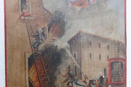 ex voto  italien sapeurs pompiers effectuant un sauvetage 1891