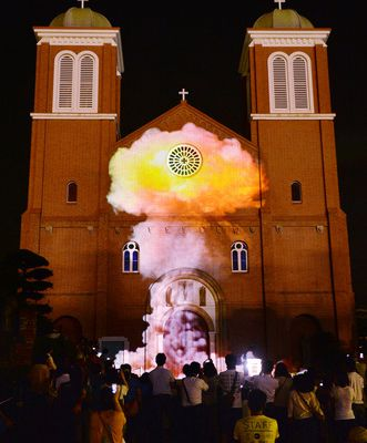 Video of nuclear terror projected on Nagasaki cathedral