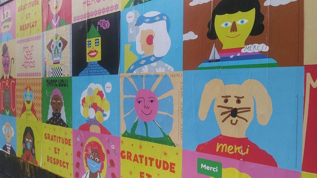 À l'initiative de Paperole, cette campagne d'affichage sauvage a fait appel à des graphistes et des enfants pour réaliser ces dessins colorés. La maison d'édition voulait ainsi remercier le personnel soignant et tous les autres, qui travaillent sans relâche dans les secteurs essentiels.