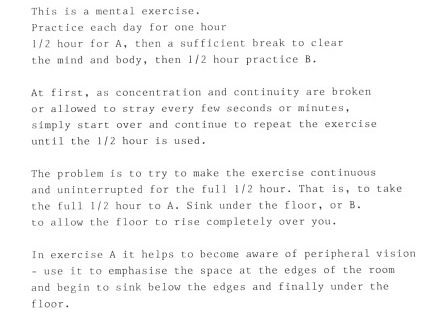 Instructions For a Mental Exercise @ Bruce Nauman. 1974