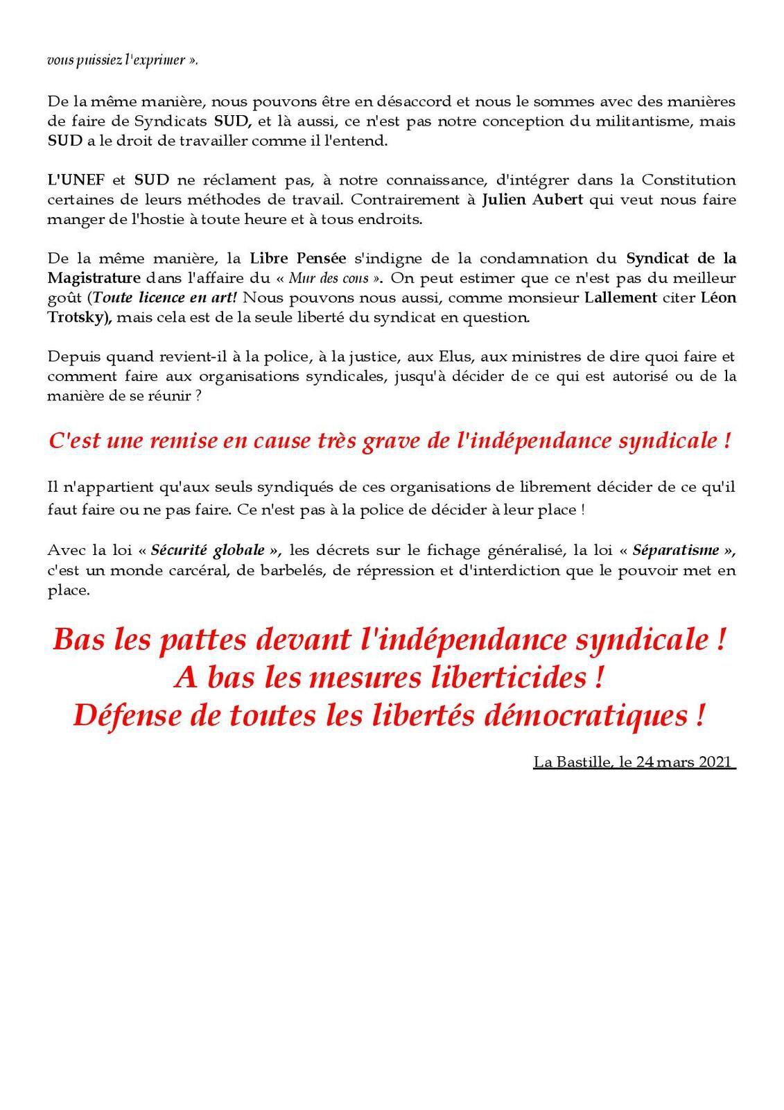 La Libre Pensée soutient l'UNEF !