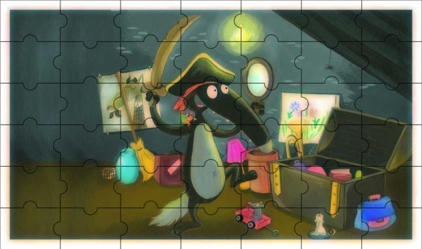 Puzzle du Loup qui fouillait dans son grenier (Annexe : Le loup qui rêvait d'océan) [Activité][Loup][Maternelle]