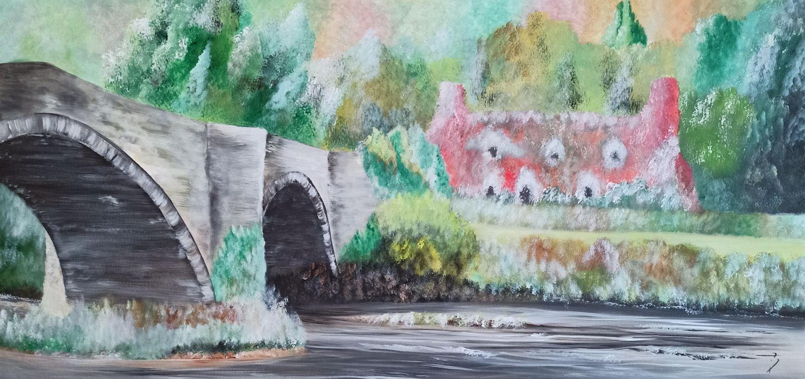 """""""Couleurs d'automne dans les highlands"""" - acrylique sur toile - taille : 100x50 cm - Disponible"""