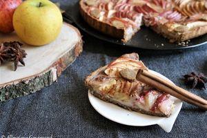 Tarte aux pommes à la crème de sarrasin-cannelle  { sans gluten,  sans lait,  sans œufs}