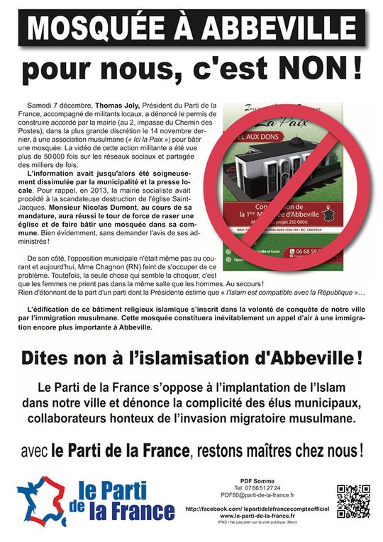Les militants du Parti de la France se mobilisent contre la future mosquée d'Abbeville