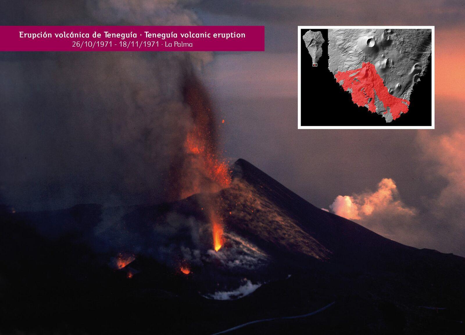 Teneguia volcano - eruption of 26.10.1971 - Archive doc via InVolcan