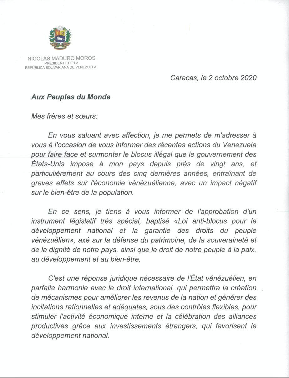 Lettre adressée par le président Nicolas Maduro Moros aux peuples du monde