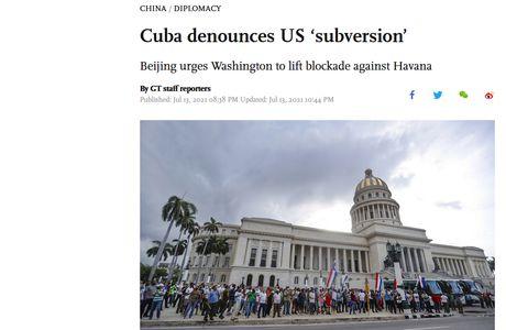 """Cuba dénonce la """"subversion"""" américaine. Pékin exhorte Washington à lever le blocus contre La Havane"""