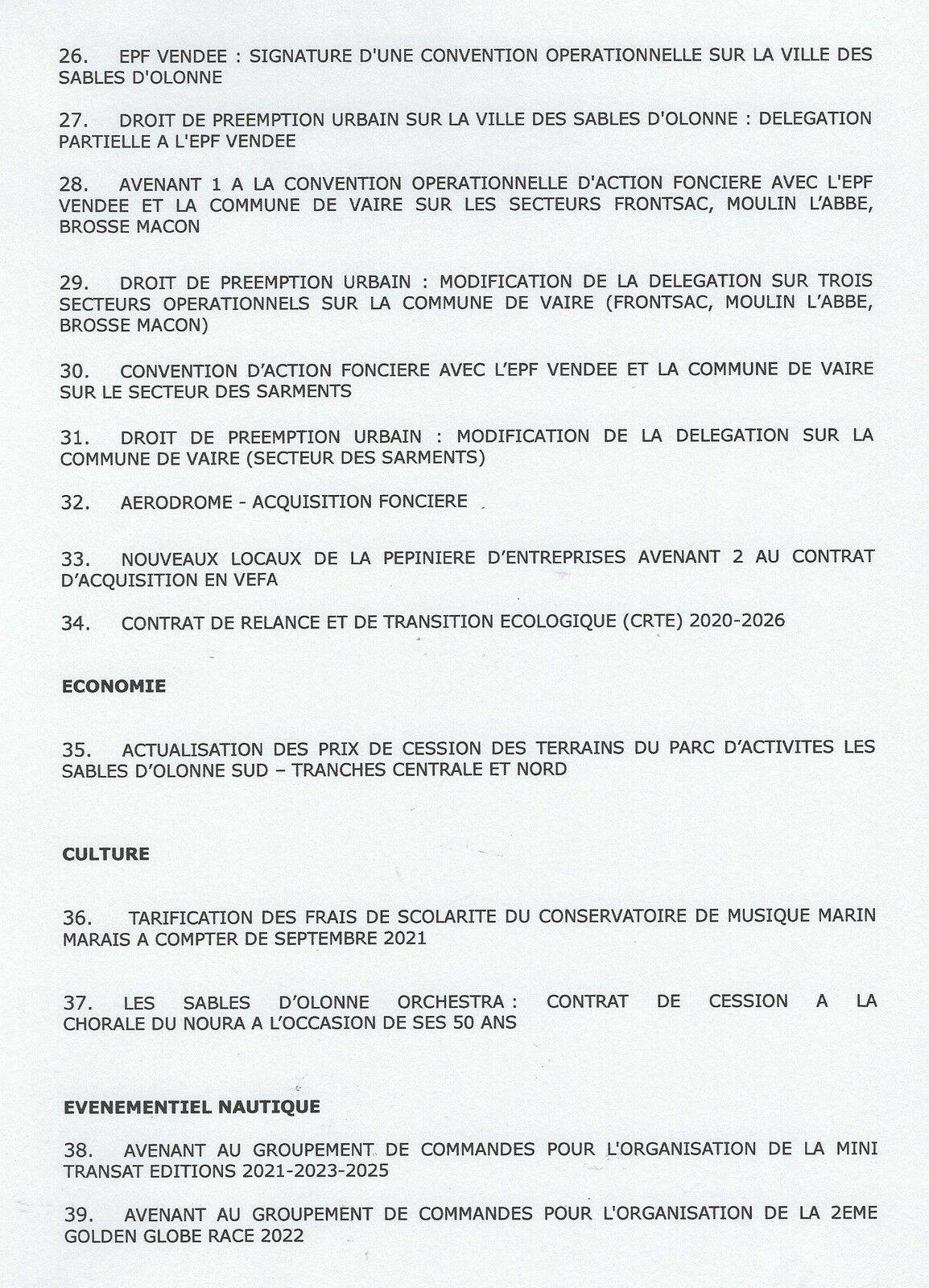 LES SABLES D'OLONNE AGGLOMÉRATION, CONSEIL COMMUNAUTAIRE DU JEUDI 8 JUILLET 2021