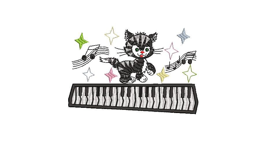 BRODERIE CHAT PIANISTE