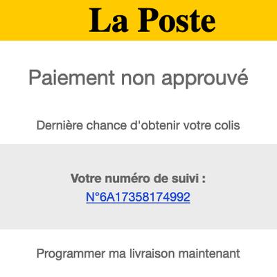 Faux mail de La Poste, tentative d'arnaque