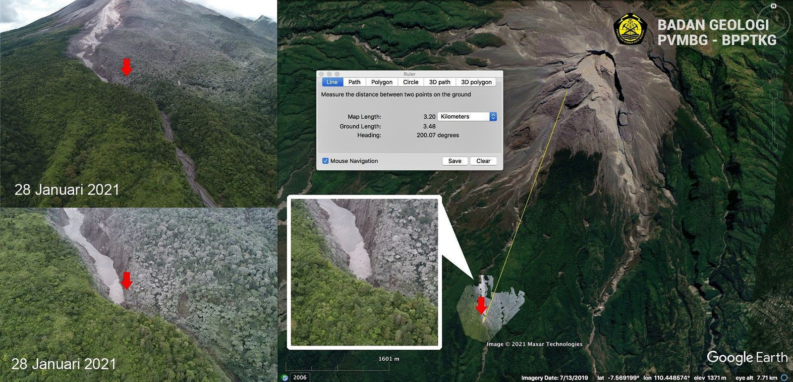 Merapi - control flight over the zone affected by pyroclastic flows, - Doc. BPPTKG 28.01.2021