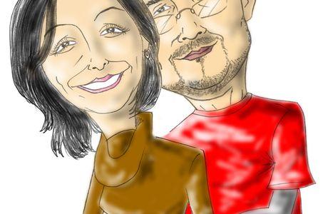 Caricatura de novios Arturo y Cynthia
