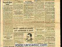 «Normandie-Niemen L'Espagne de Franco Nations Unies Baillet Léon Blum procès Pétain», Résistance La voix de Paris, 21/6/1945.