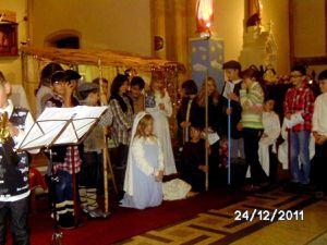 Une crèche vivante à la messe de minuit à Algrange en 2011