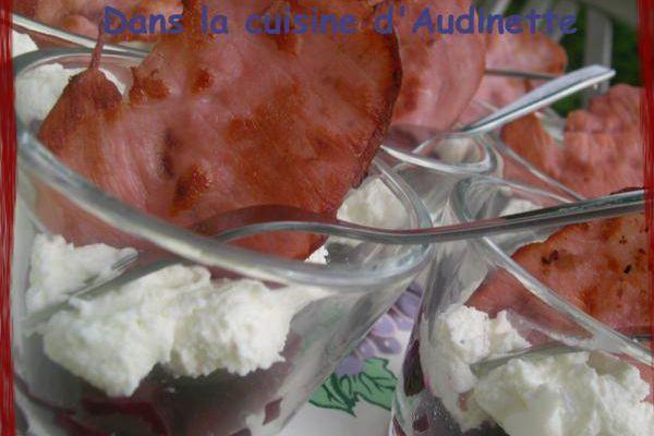 Verrine de betteraves et crème de mascarpone et ricotta