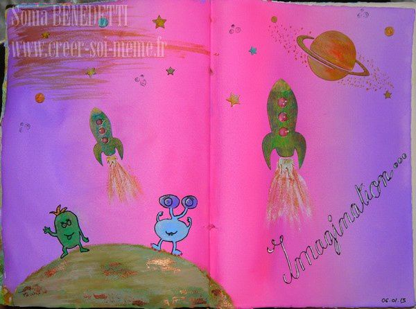 En décembre 2012, je me suis lancée dans un art journal et vous pouvez retrouver ici mes créations