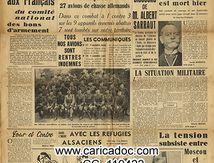«Grand combat aérien 9 avions allemands abattus Un appel aux français Albert Sarraut Adolphe Max», Le Petit Parisien, 7/11/1939.