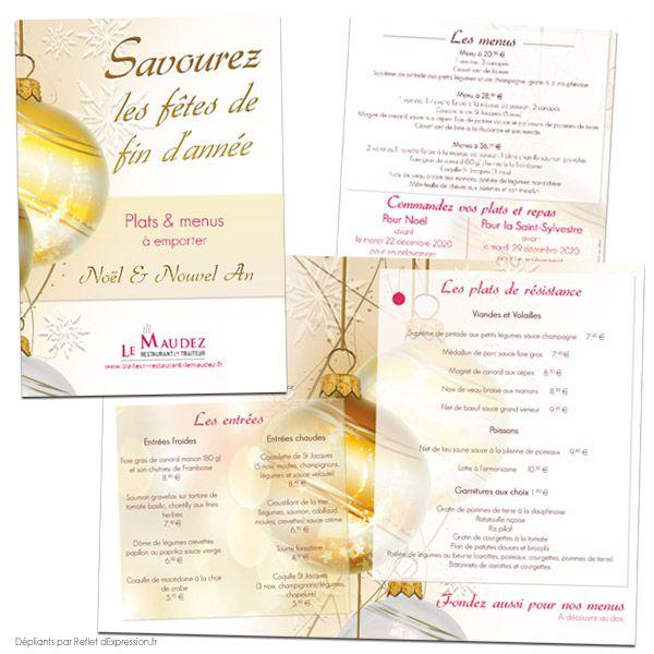 Dépliants 1 pli roulé Restaurant Le Maudez plats à emporter Noël et Nouvel An