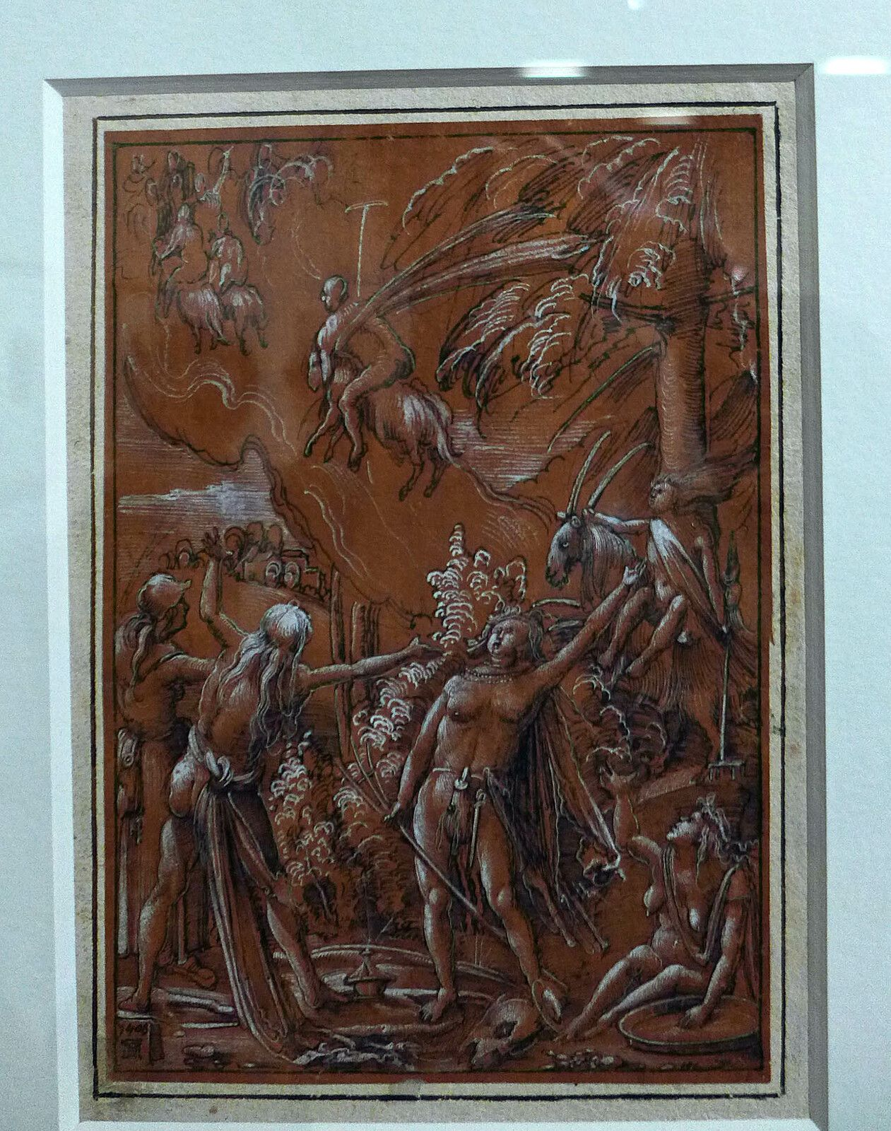 Albrecht Altdorfer, Le Départ pour le sabbat (1506), plume et encre noire, rehauts de gouache blanche, sur papier préparé brun-rouge. Paris, musée du Louvre, département des arts graphiques.