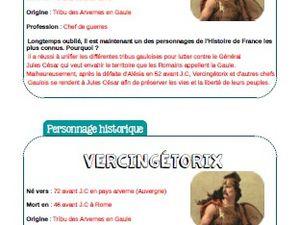 Fiche d'identité - personnage historique : Vercingétorix -CE2-CM1-CM2