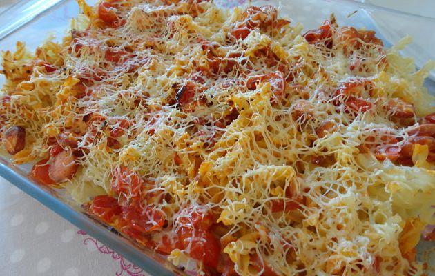 Gratin de pâtes aux tomates cerises et knackis