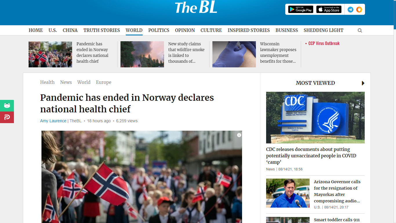 Source : https://thebl.tv/world-news/europe/pandemic-has-ended-in-norway-declares-national-health-chief.html