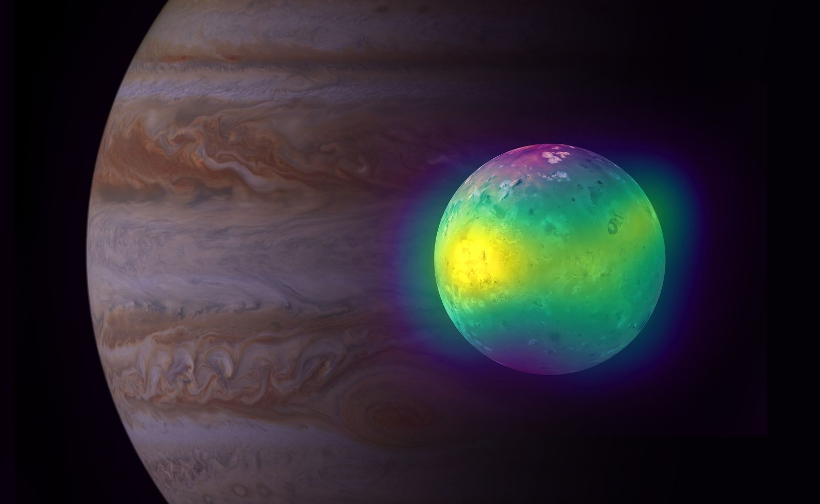 Composite image showing Jupiter's moon Io in radio (ALMA) and optical light (Voyager 1 and Galileo). ALMA images of Io show for the first time plumes of sulfur dioxide (in yellow) rising from its volcanoes. Jupiter is visible in the background (Cassini image). Credit: ALMA (ESO / NAOJ / NRAO), I. de Pater et al .; NRAO / AUI NSF, S. Dagnello; NASA / JPL / Institute for Space Sciences - one click to enlarge