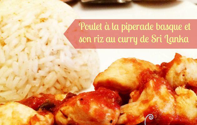 Poulet à la piperade basque et son riz au curry du Sri Lanka